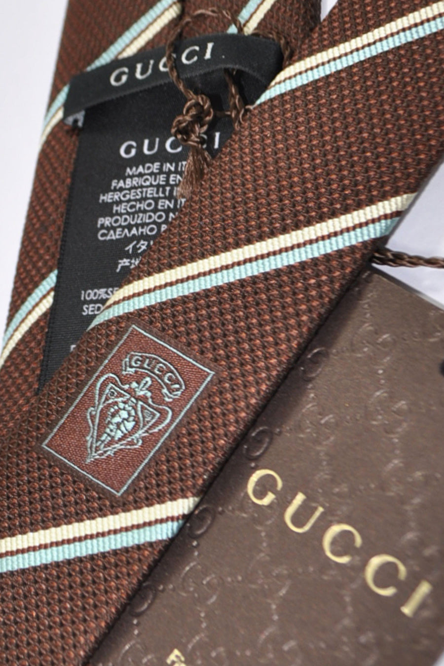 Gucci Tie Brown Sky Blue Silver Stripes