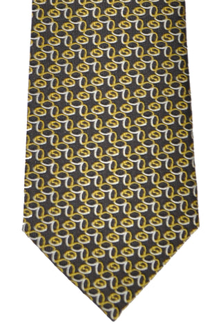 Gucci Tie Black Yellow Gold Silver Geometric