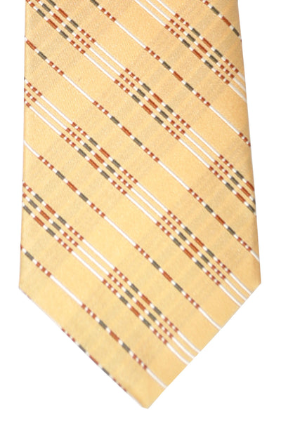 Gucci Tie Cream Black Silver Stripes Design