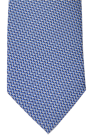 Gucci Tie Navy Blue Silver Geometric Design