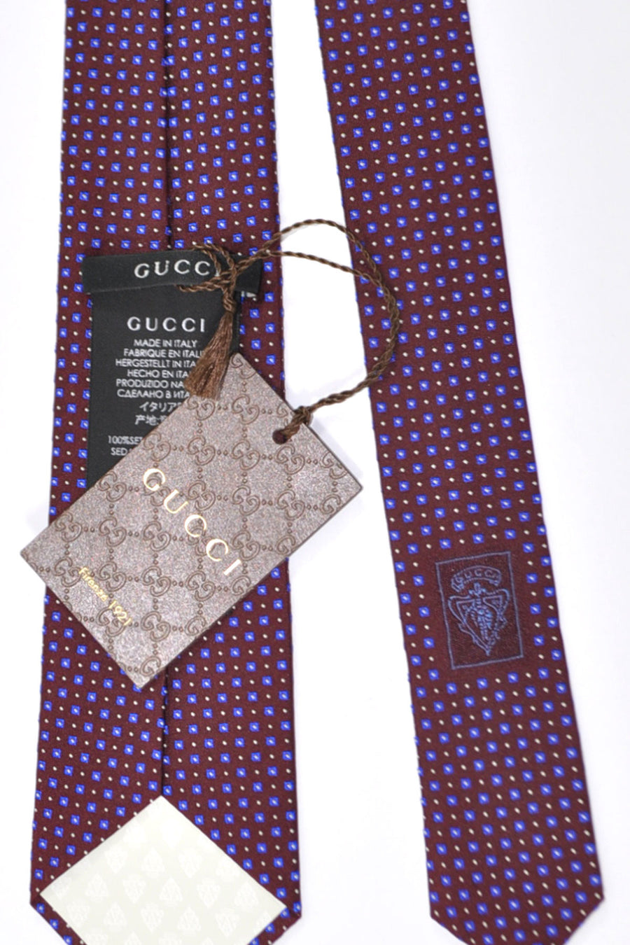 Gucci Tie Maroon Royal Blue Silver Geometric Design