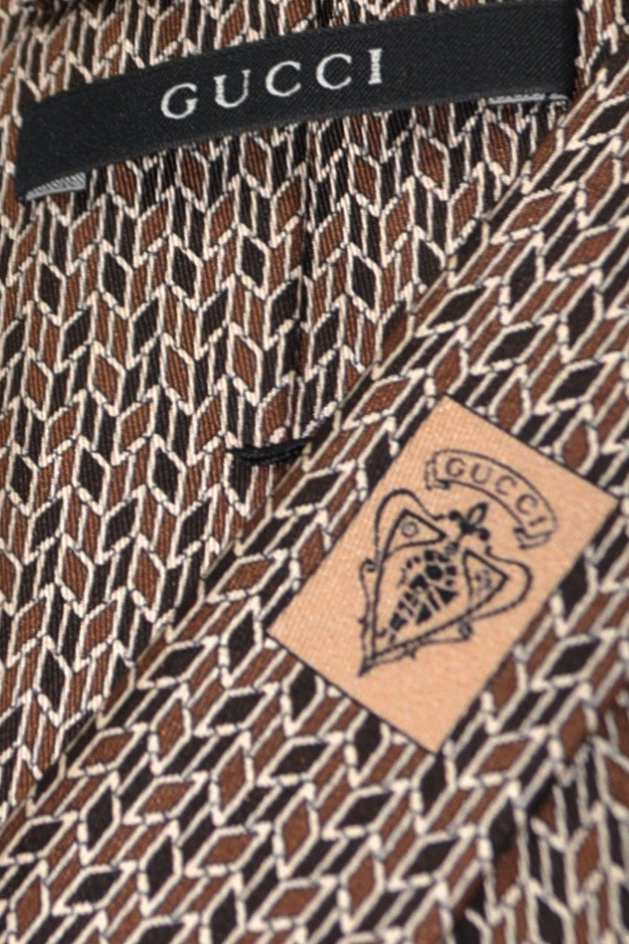 Gucci Tie Brown Silver Geometric Design