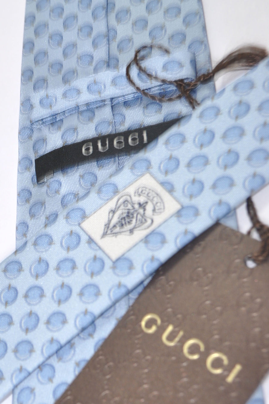 Gucci Tie Sky Blue Geometric Design