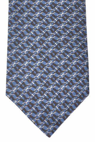 Gucci Tie Midnight Blue Silver Chain Design