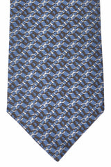 Gucci Tie Midnight Blue Silver Geometric Design