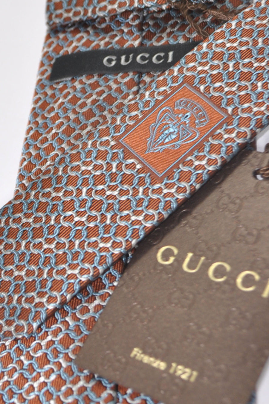 Gucci Tie Brown Metallic Gray Silver Geometric Design