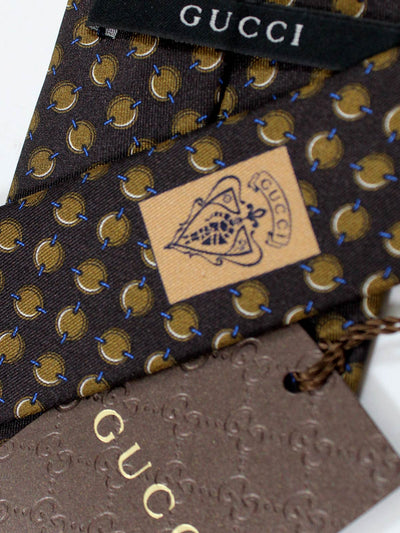 Gucci Silk Tie Brown Ovals SALE