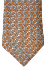 Gucci Tie Taupe Silver Orange Geometric Design
