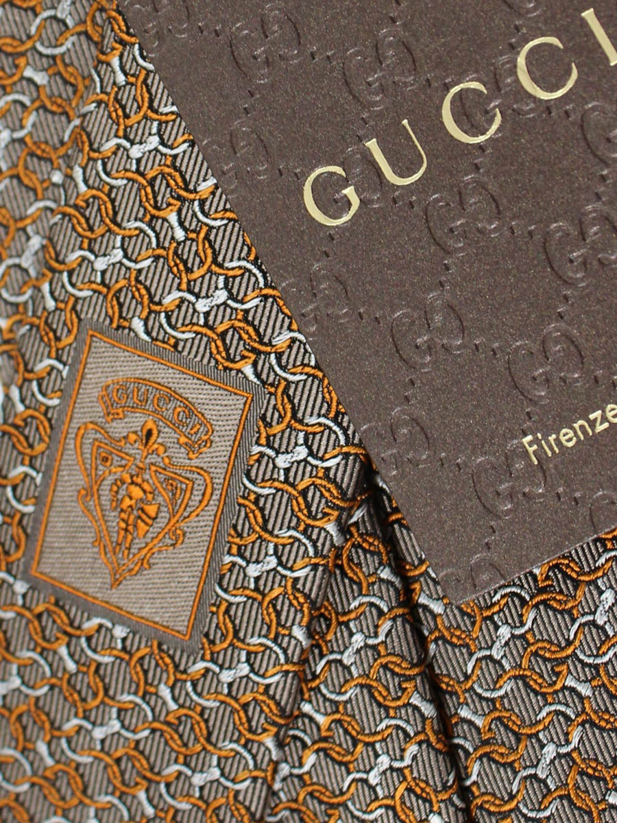 Gucci Tie Taupe-Gray Silver Orange Interlocking Chain
