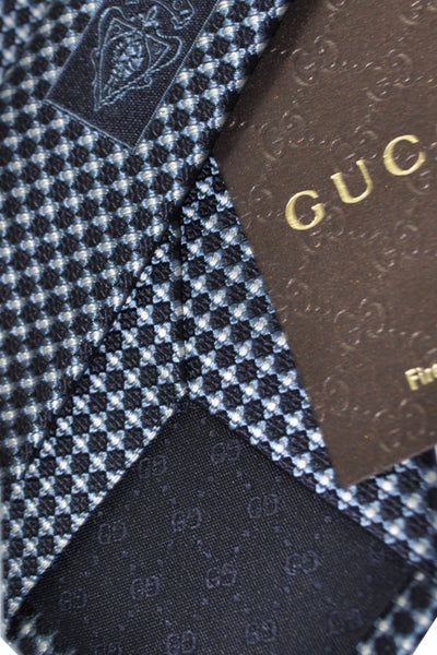 Gucci Tie Navy Gray Silver Geometric Design