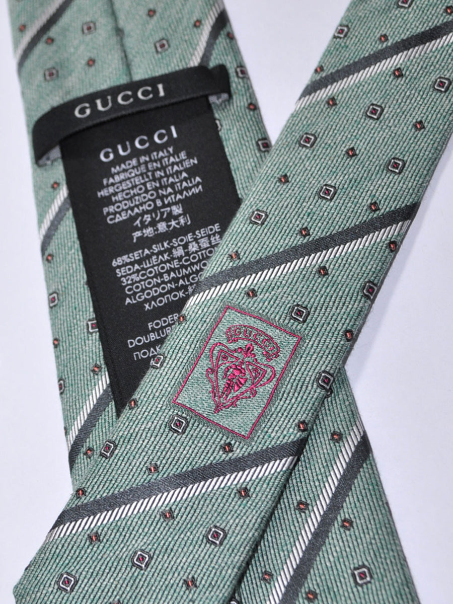 Gucci Tie Green Gray Stripes Geometric Narrow Necktie