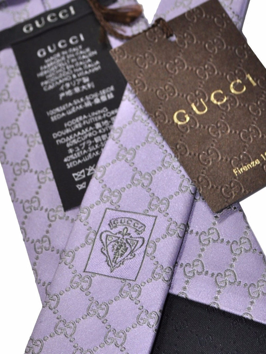 Gucci Tie Lilac Gray GG Pattern
