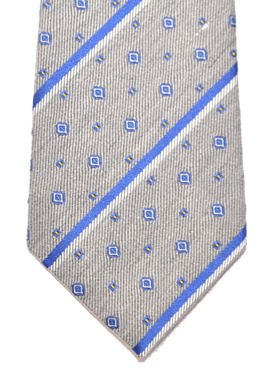 Gucci Tie Gray Royal Blue Stripes Geometric