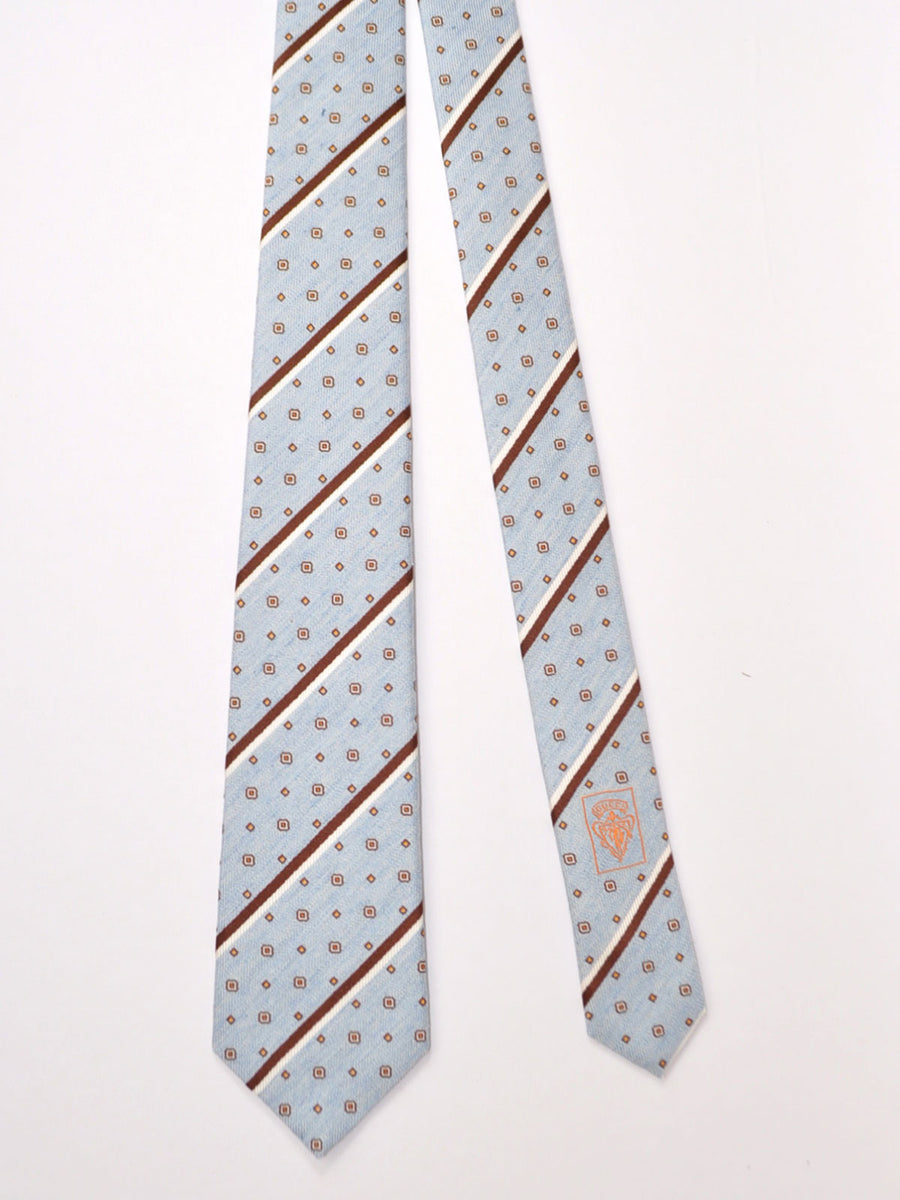 Gucci Tie Sky Blue Brown Stripes Geometric