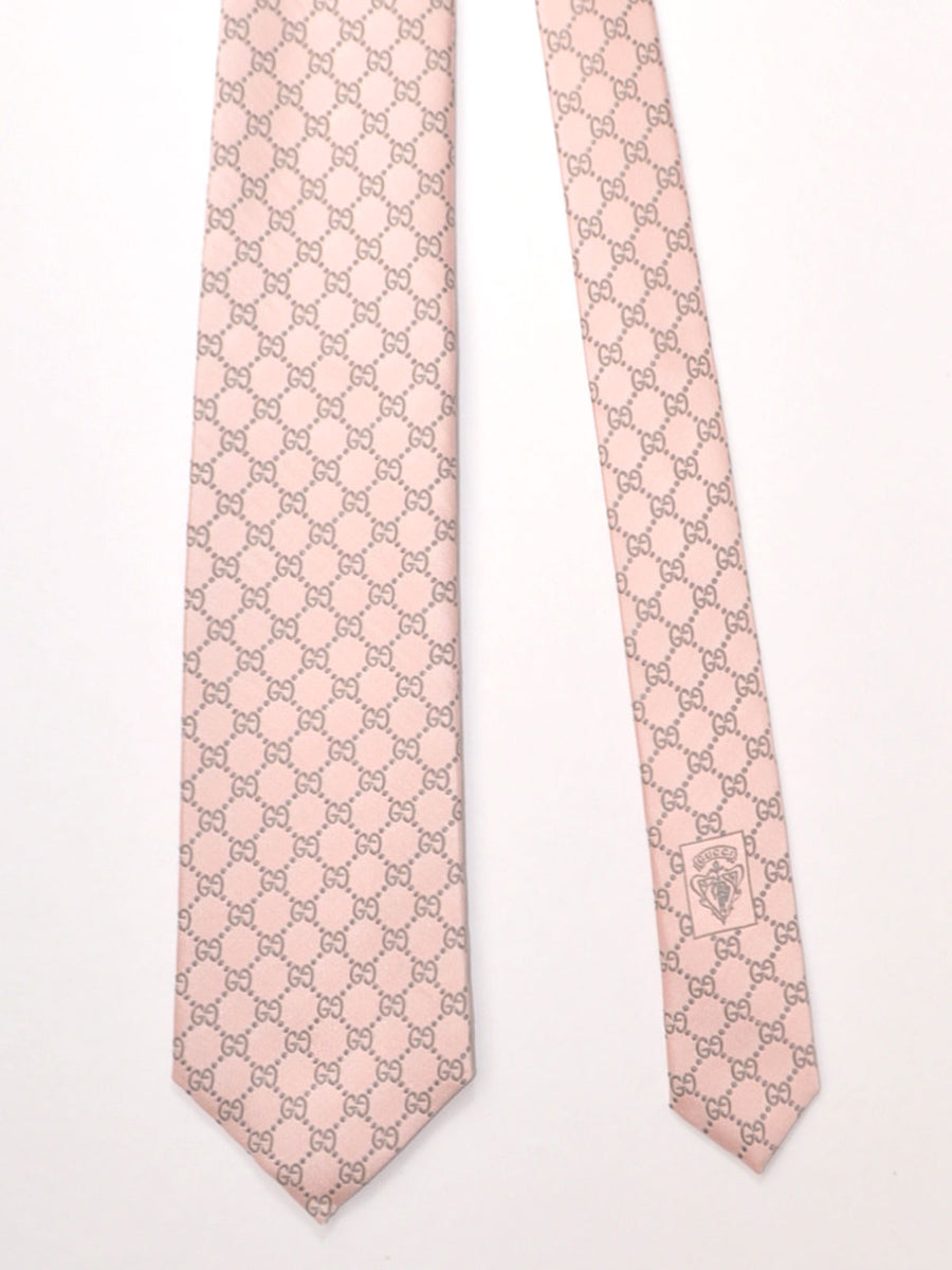 Gucci Tie Pink Gray GG Pattern
