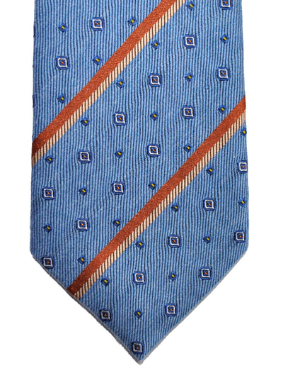Gucci Tie Blue Rust Orange Stripes Narrow Necktie