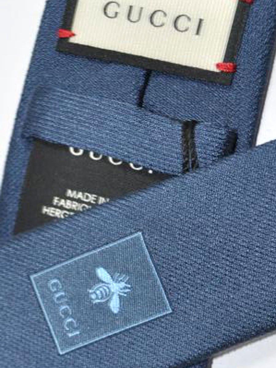 Gucci Tie Dark Blue Grosgrain Design