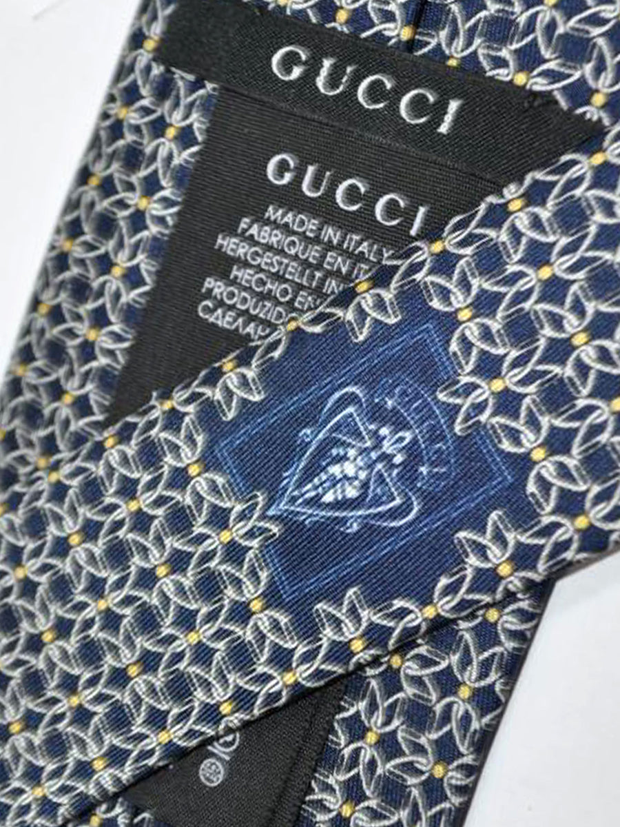 Gucci Silk Tie Navy Yellow Geometric Design
