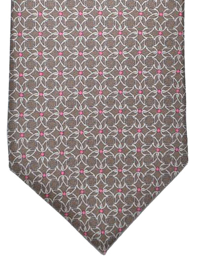 CopGucci Silk Tie Brown Fuchsia Geometric Design