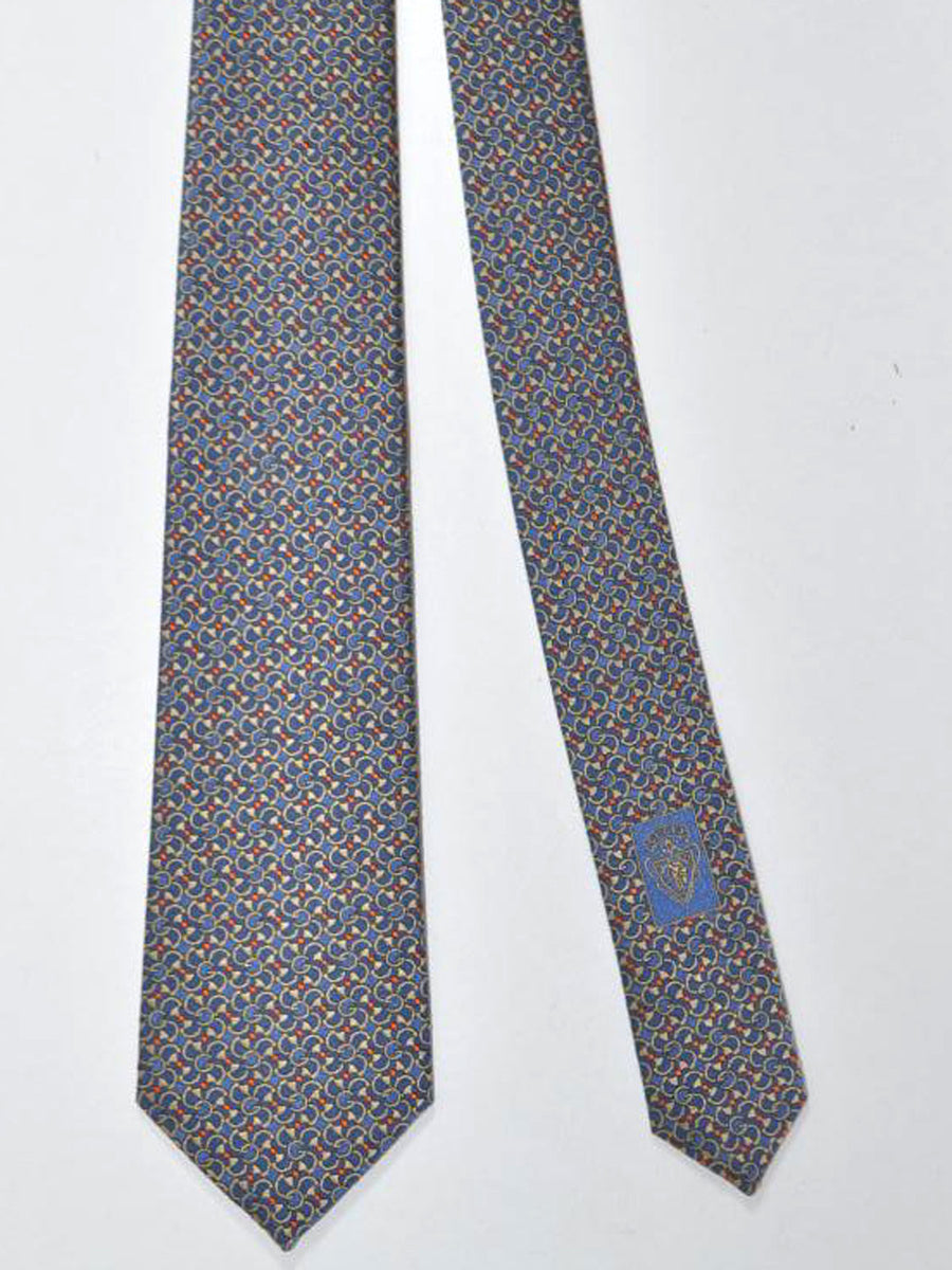 Gucci Tie Navy Cream Red Geometric Design - Narrow Necktie