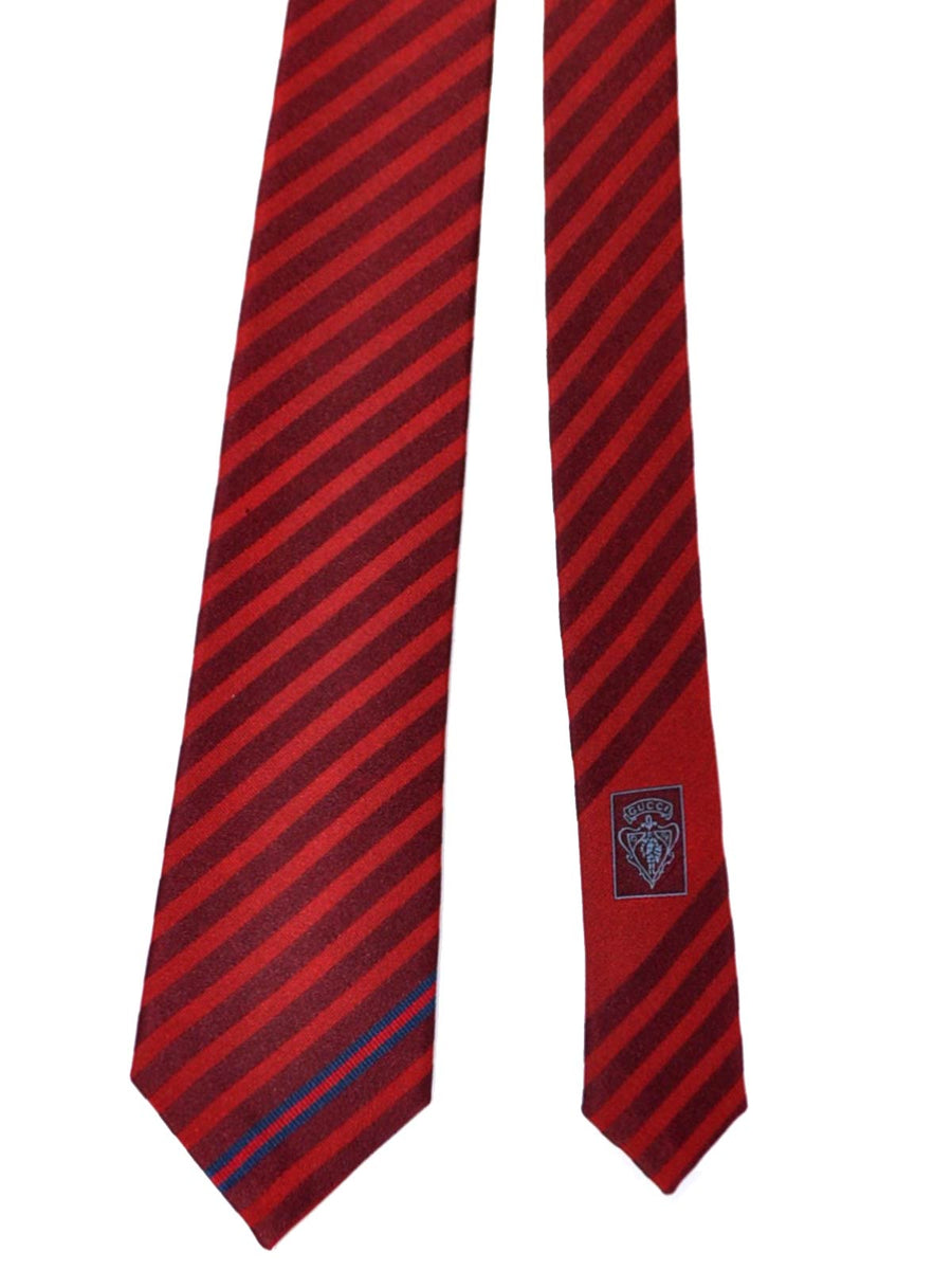 Gucci Necktie Red Burgundy Stripes Design