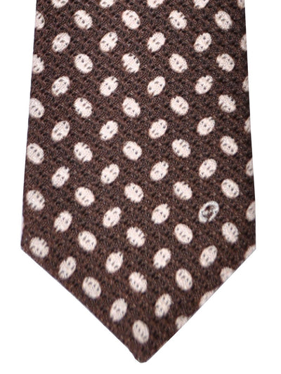 Gucci Tie Brown White Ovals Geometric FINAL SALE