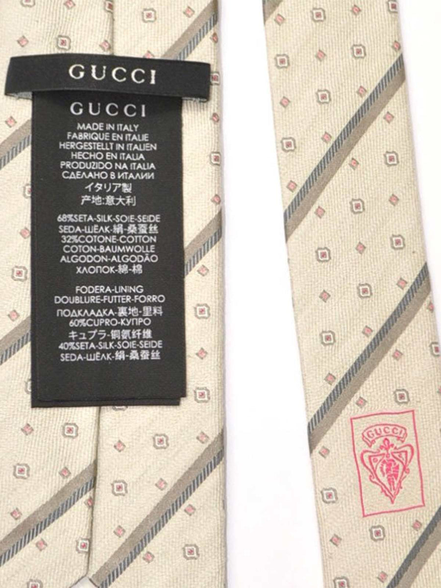 Gucci Tie Cream Gray Pink Stripes Geometric