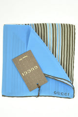 Gucci Pocket Square Blue Brown Stripes