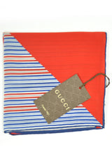 Gucci Pocket Square Navy Red Stripes