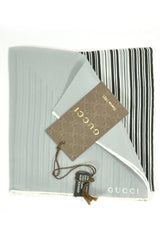 Gucci Pocket Square Gray Black Stripes
