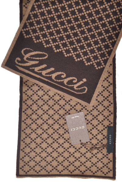 Gucci Scarf Brown Cream Signature Wool Scarf SALE