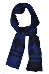Navy Royal Blue Argyle Design Wool Scarf