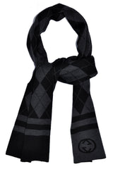Gucci Scarf Gray Black Argyle Design Wool Scarf