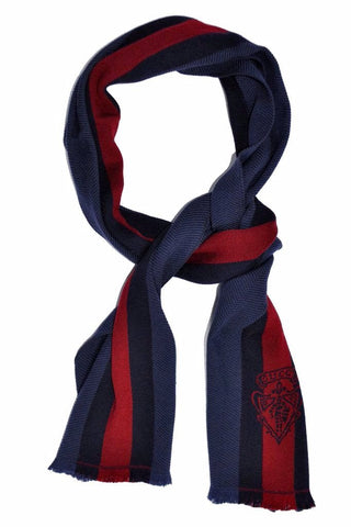 Gucci Scarf Midnight Blue Navy Burgundy Stripes & Crest Wool Scarf FINAL SALE