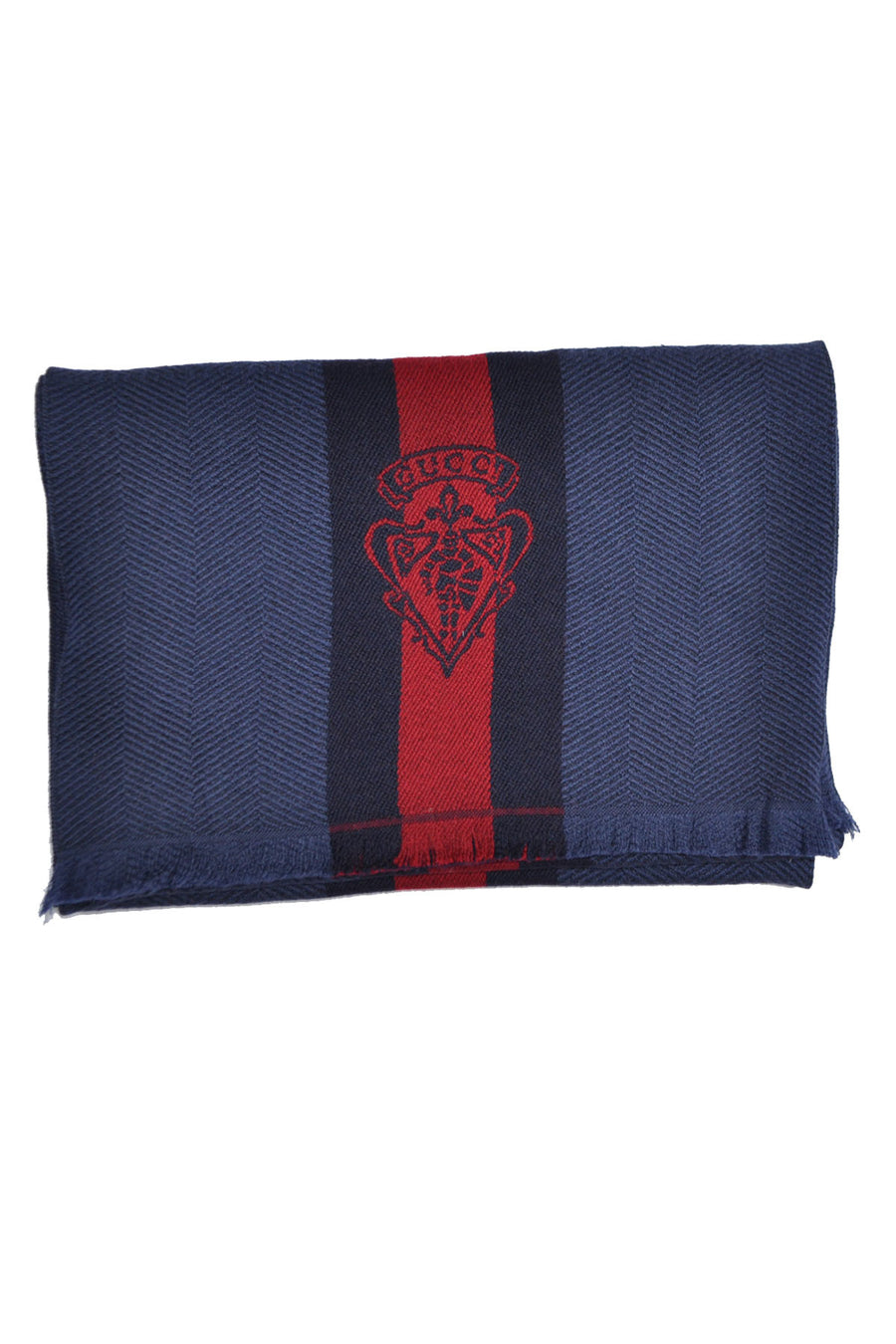 Gucci Scarf Midnight Blue Navy Burgundy Herringbone Stripes & Crest Wool Scarf