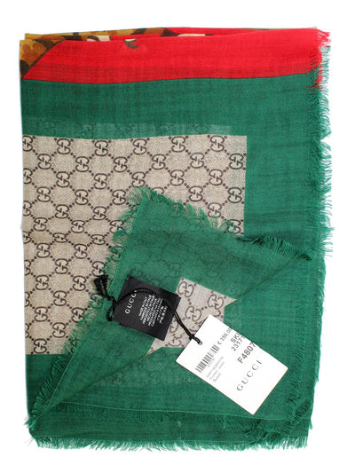 Gucci Scarf Beige Tiger Web GG With Signature Red Green Trim SALE
