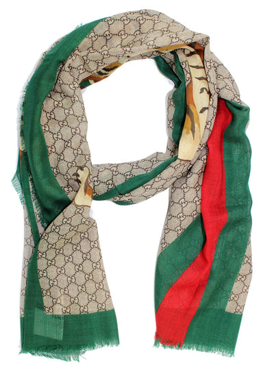Gucci Scarf Tiger Web GG With Signature Red Green Trim