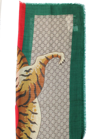 Gucci Scarf Tiger Web Beige GG Red Green Trim