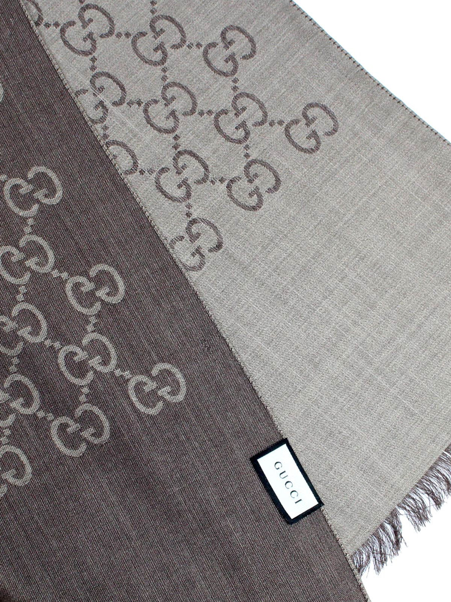 Gucci Scarf Taupe Brown GG Pattern Wool Silk Shawl SALE