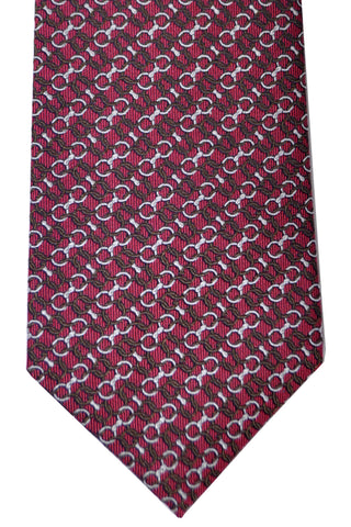 Gucci Tie Purple Brown Silver Geometric