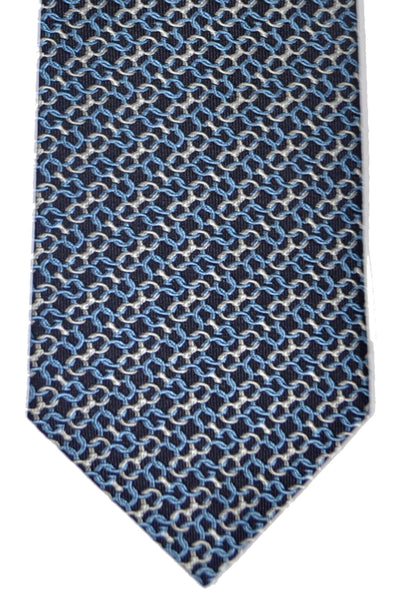Gucci Tie Navy Blue Silver Chain Design