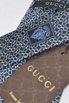 Gucci Tie Navy Blue Silver Chain
