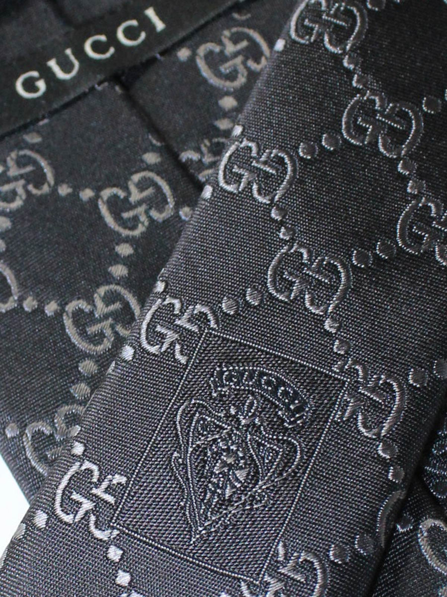 Gucci Silk Tie Black Gray GG Pattern - Gucci GG Design