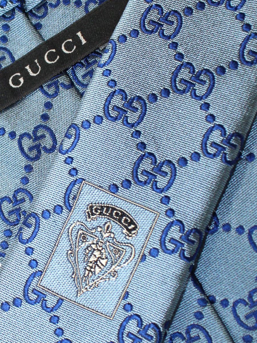 Gucci Tie Metallic Gray Royal GG Pattern