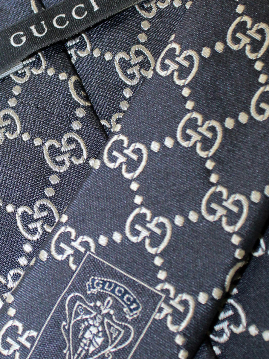 Gucci Tie Black Gray GG Pattern