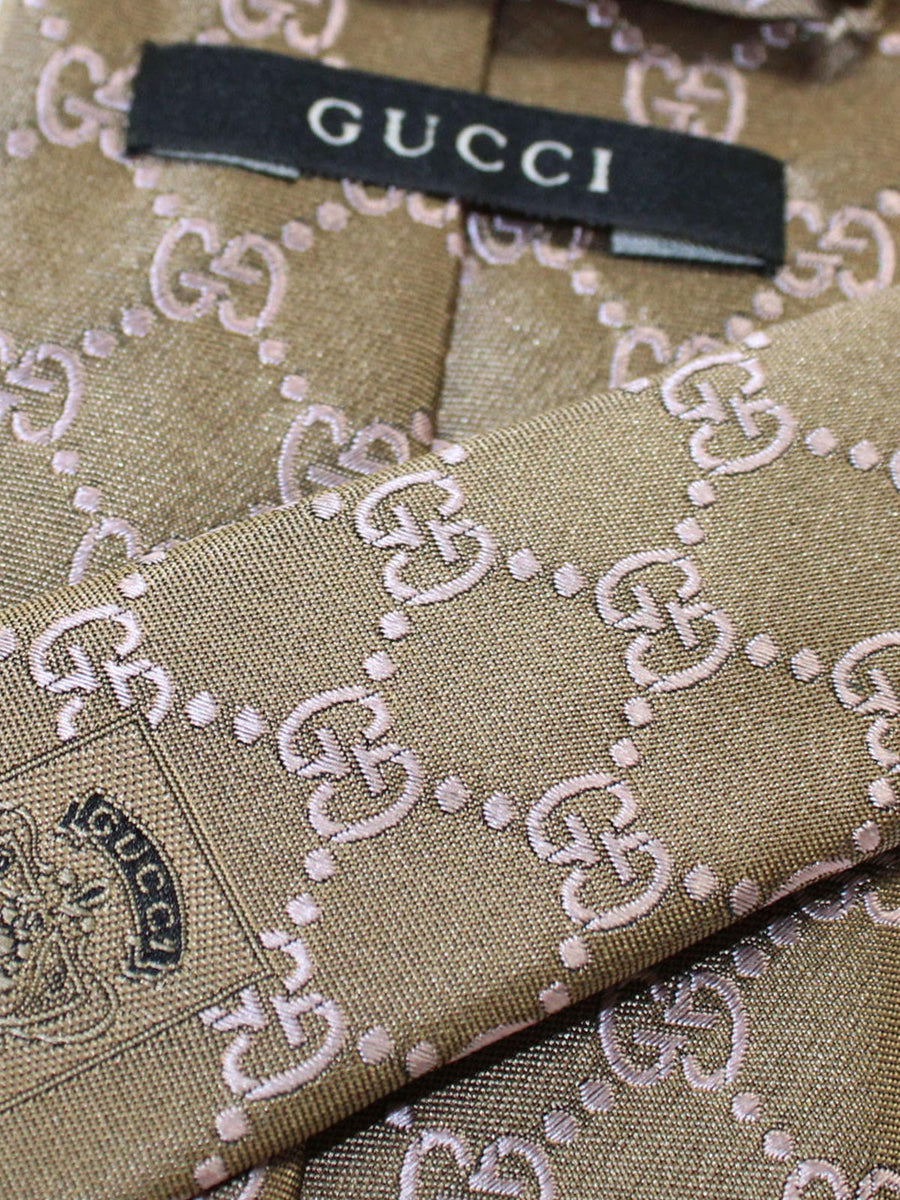 Gucci Tie Taupe Brown Pink GG Pattern