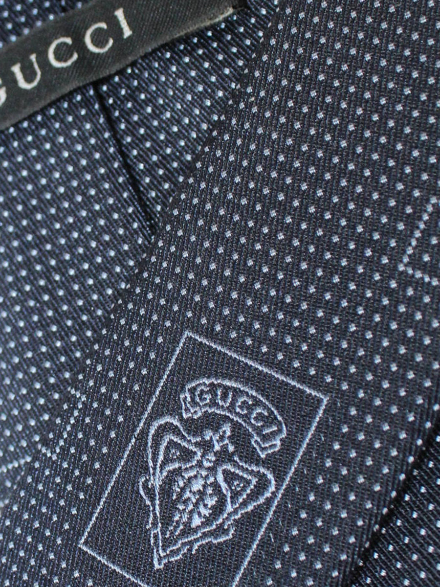 Gucci Silk Tie Navy Logo Design