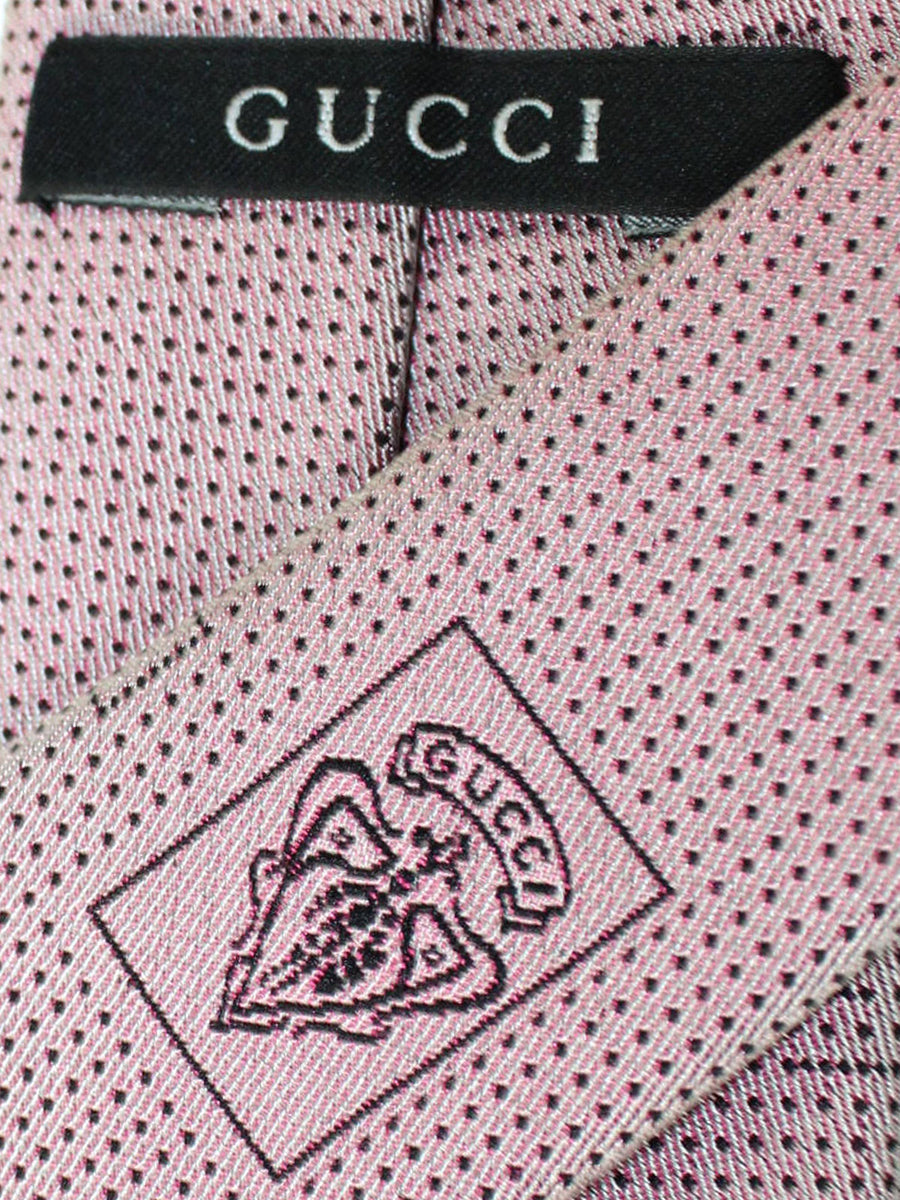 Gucci Silk Tie Pink G & Mini Dots