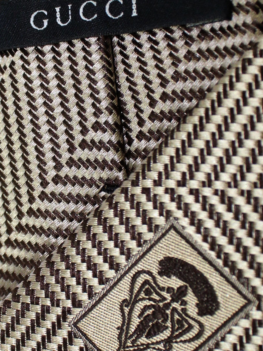 Gucci Silk Tie Cream Taupe Herringbone Design