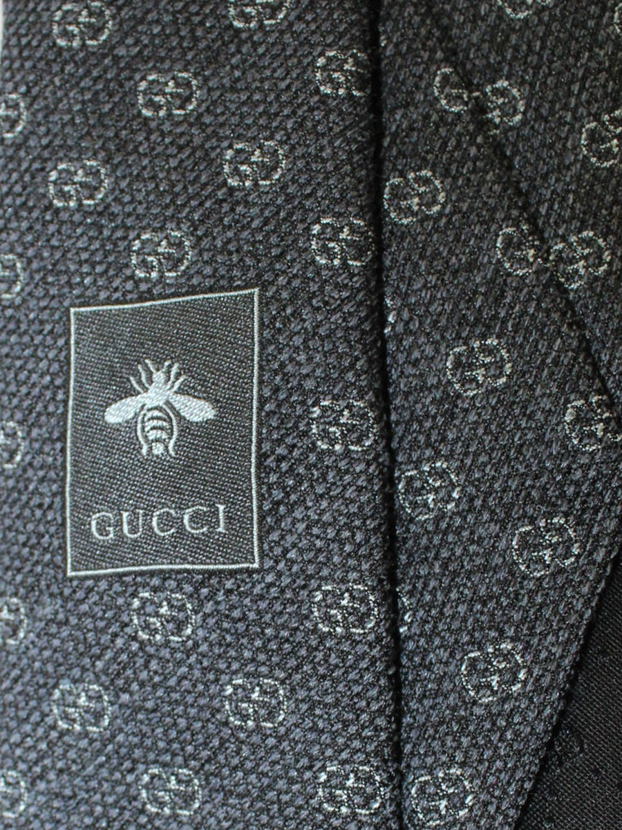 Gucci Tie Gray GG Pattern Design Narrow Necktie